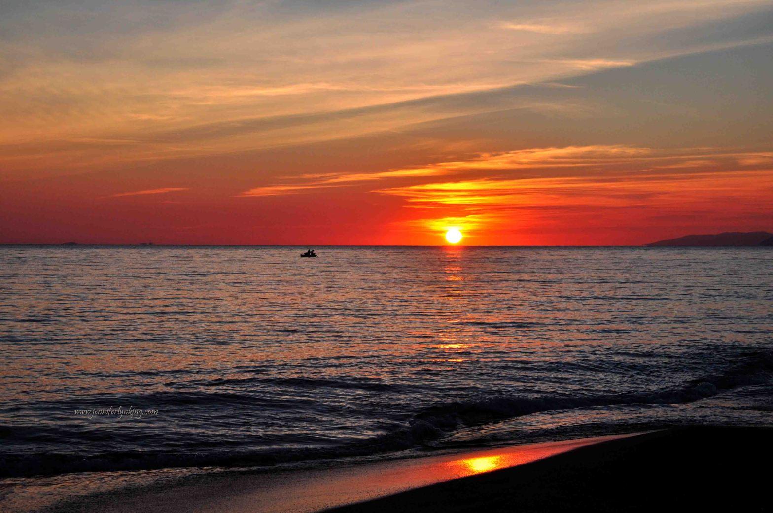 Sunset on Italy's Maremma, over the Mediterranean