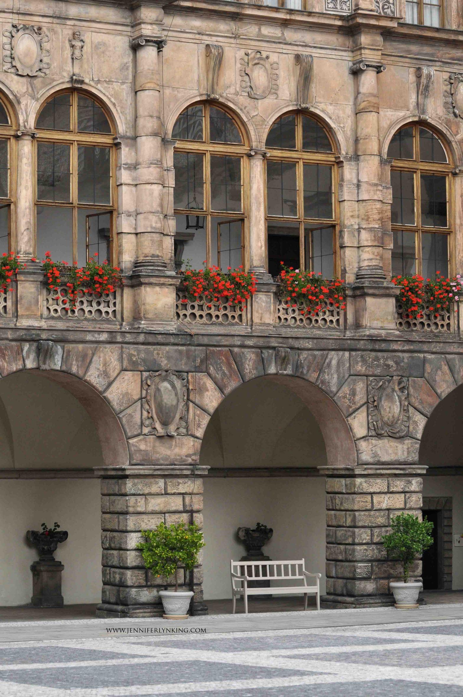 the beautiful courtyard surroundings, Nelahozeves Castle, Czech Republic