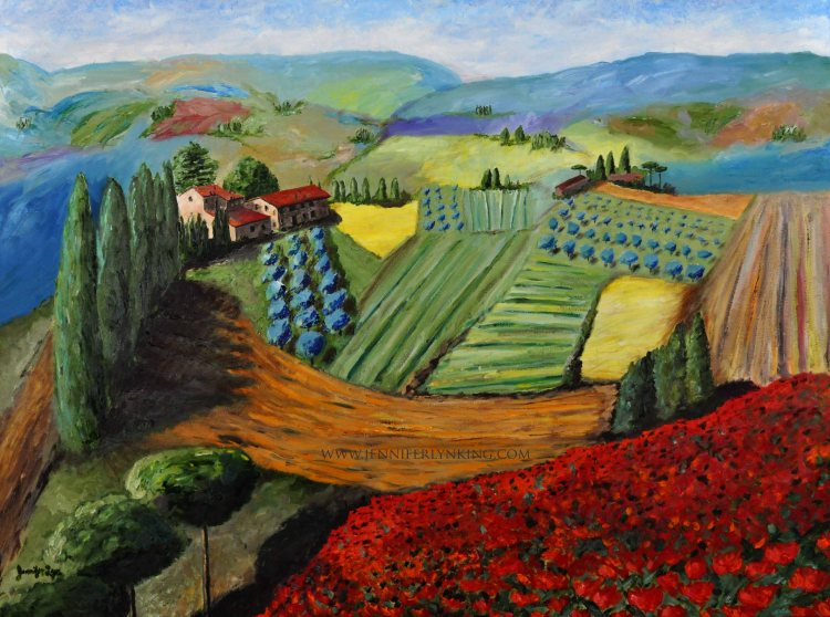"The View of Tuscany from Siena's Walls, Italy: oil painting: 36"" x 48"