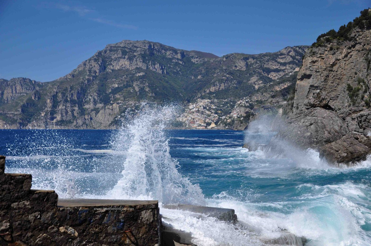 Waves Crashing, Positano, Italy, in the background
