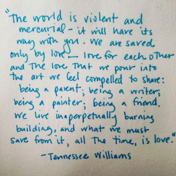 Tennessee Williams quote on love