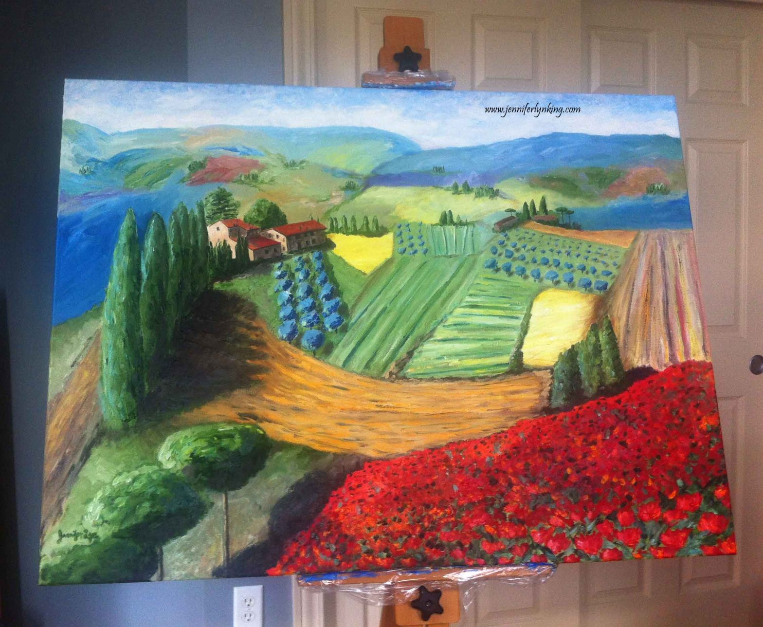 "My biggest painting yet, 36"" x 24"", The View of Tuscany from Siena's Walls"
