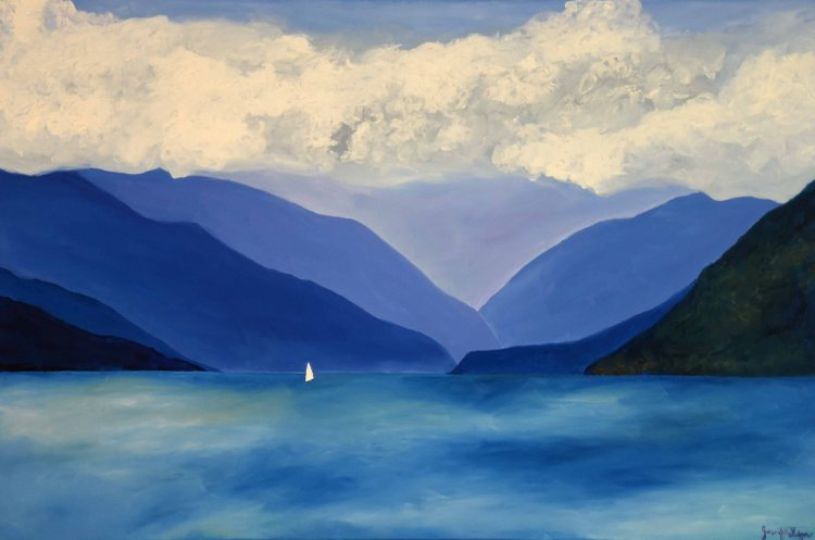 Lake Como Italy original oil painting