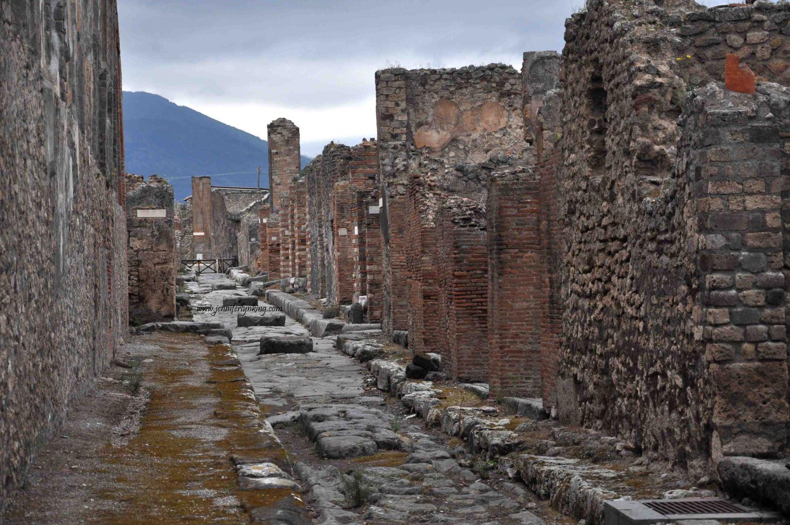 A Street leading toward Mt Vesuvius, Pompeii, Italy