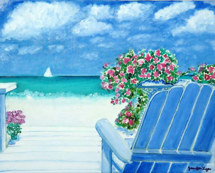 At the Beach oil painting