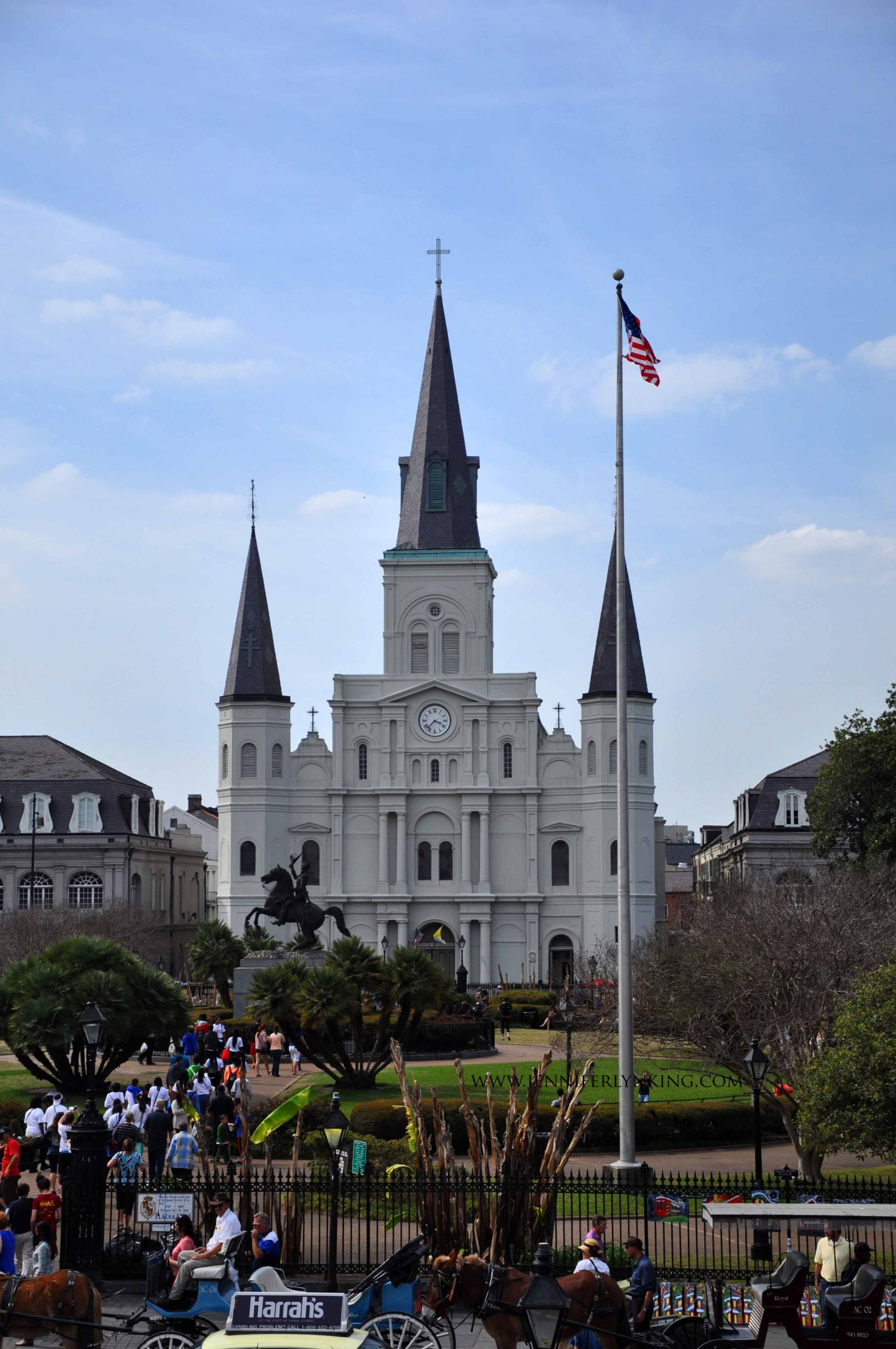 Saint Louis Cathedral, Jackson Square, New Orleans, taken from the Mississippi River levee