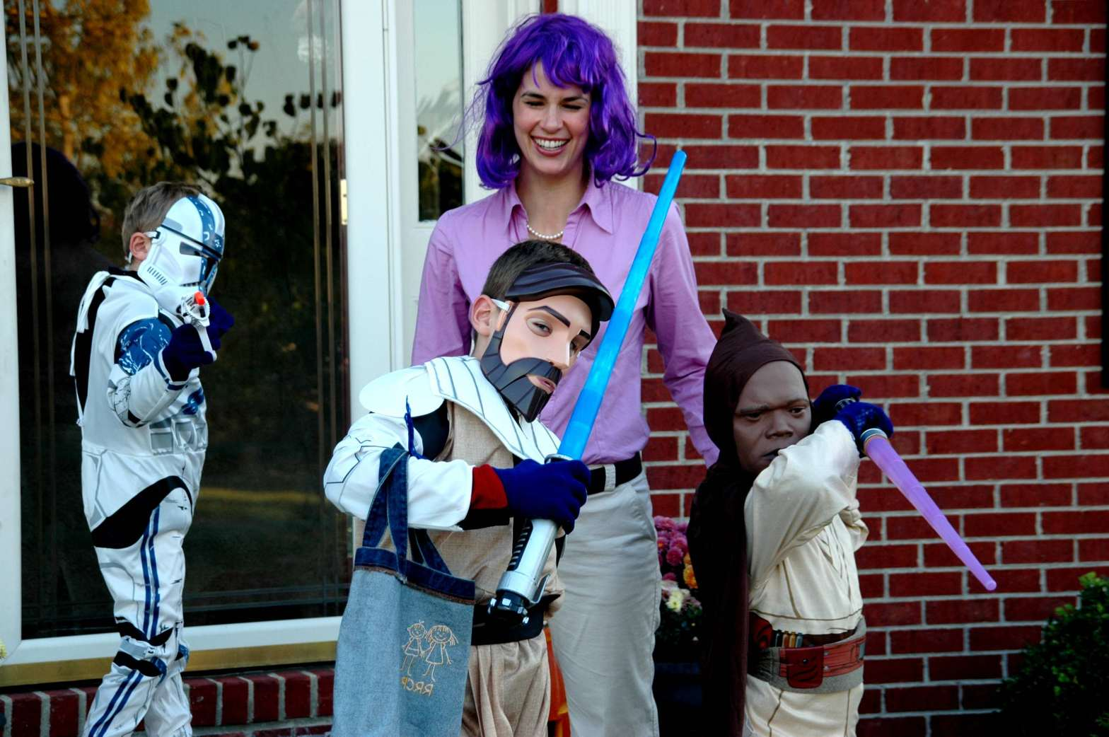Me, the Mom in a purple wig! with my three little Jedis
