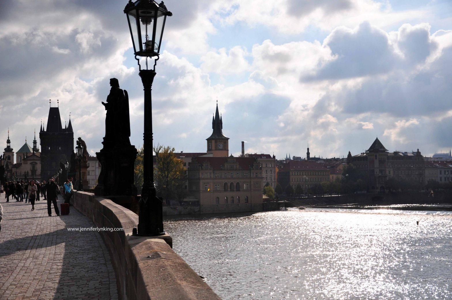 The view across Charles Bridge and the Vltava River, in Prague