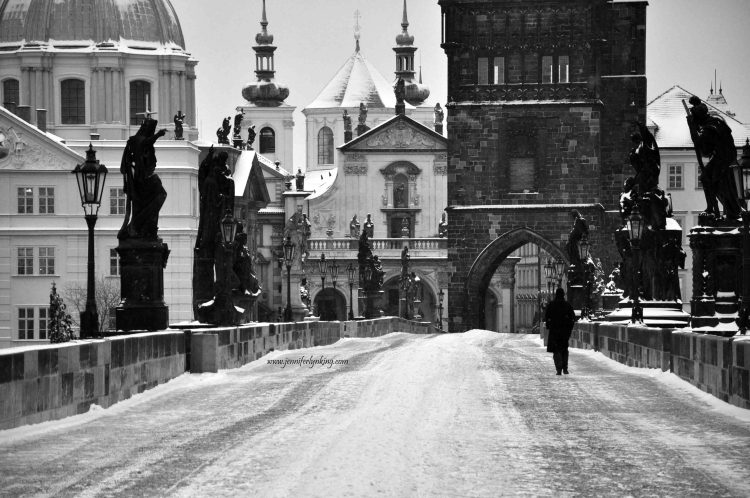 Snow-covered Charles Bridge in Winter, Prague, Black and White 2