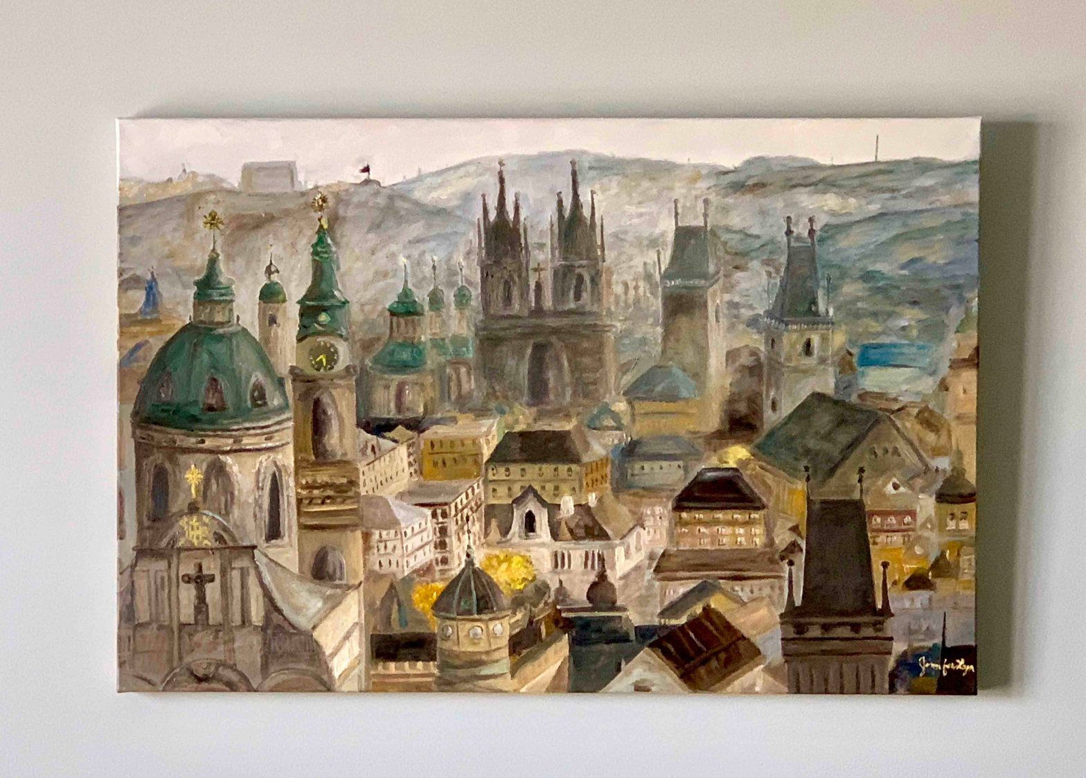 Oil Painting Prague's 1000 Spires, View from Prague Castle
