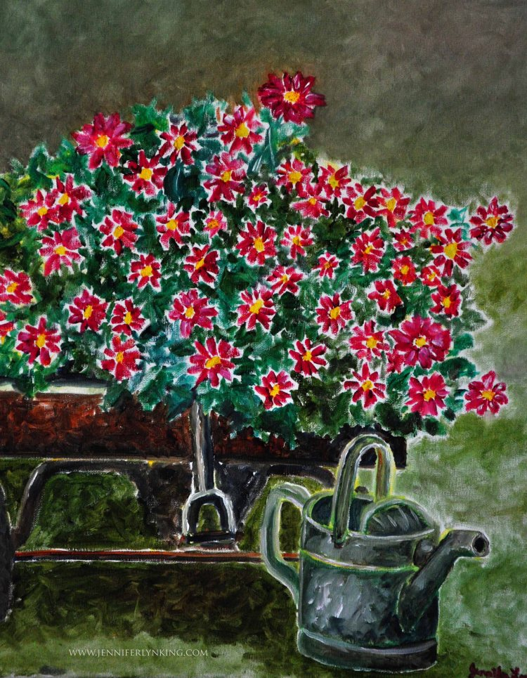 Watering Can and Flowers oil painting 3