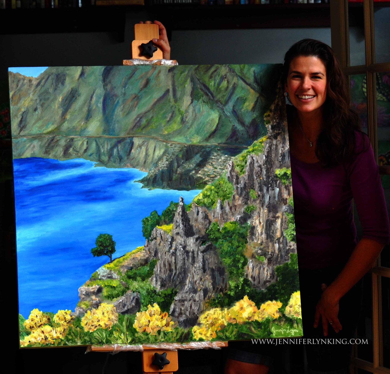 Jennifer Lyn King and her painting