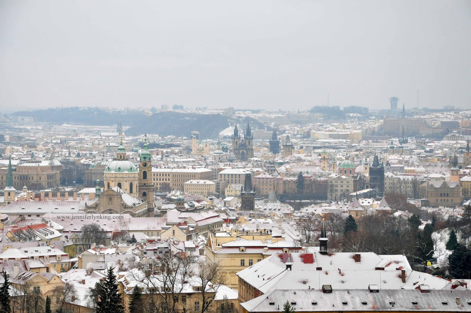 The View over Prague in Winter