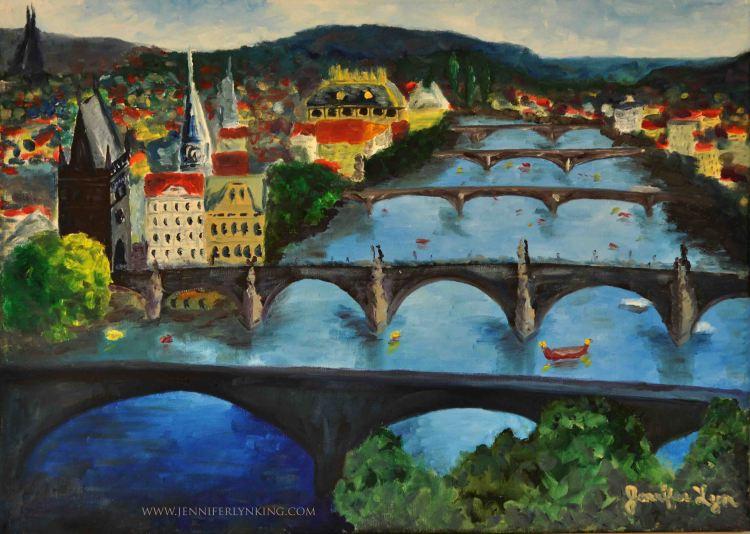 Prague's Five Bridges, Oil on Canvas painting, Jennifer Lyn King