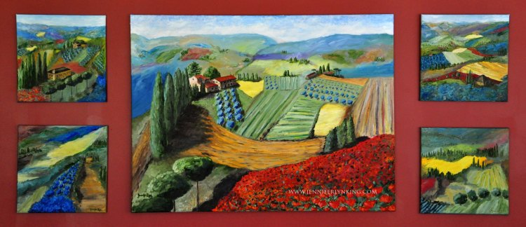 The View of Tuscany from Siena's Walls, collection of 5 original oil paintings