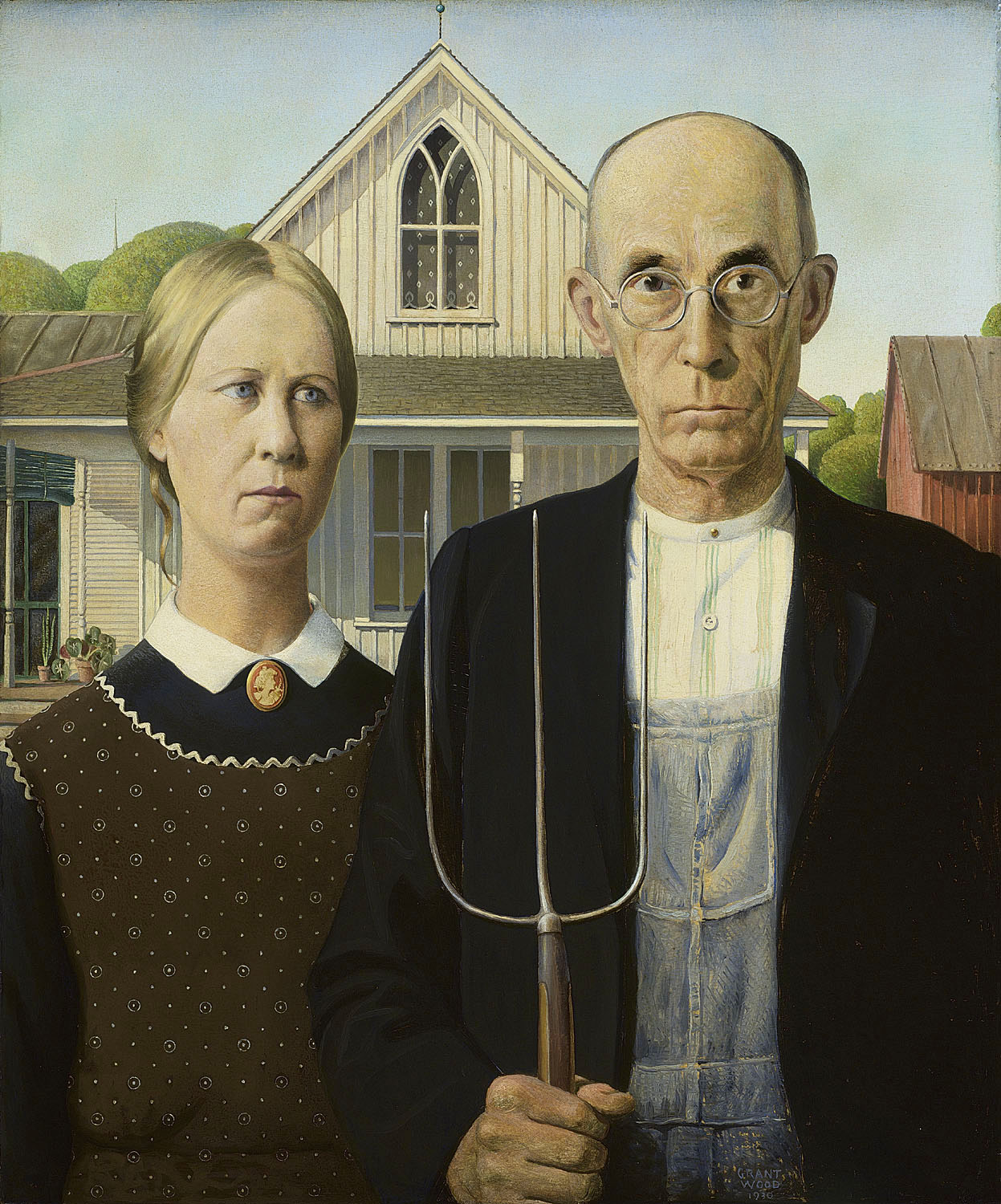 Grant Wood (1891-1942), American Gothic, 1930, oil on beaver board, 30 3/4 x 25 3/4 in. (78 x 65.3 cm), The Art Institute of Chicago, Friends of American Art Collection, 1930.934