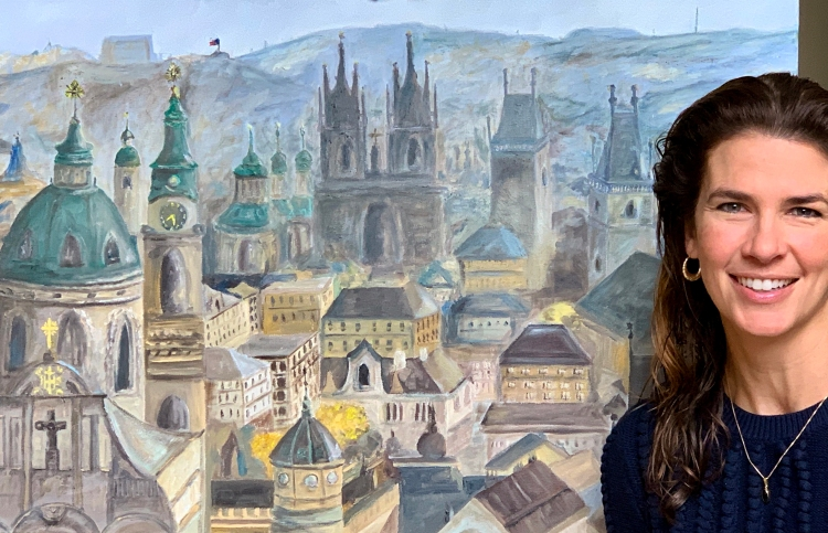 Prague painting and Jennifer -- happy!