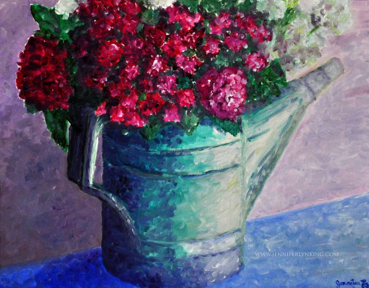 Watering Can and Flowers oil painting 2
