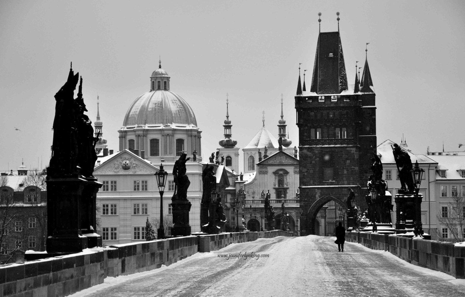 Prague Charles Bridge in Snow