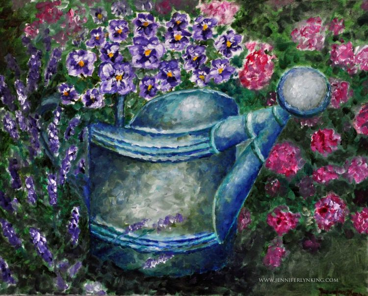 Watering Can and Flowers oil painting