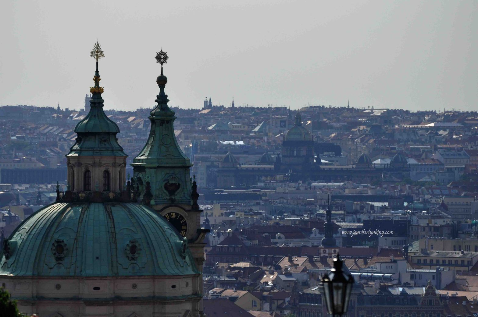 the unforgettable view from the Prague Castle gates, over Prague