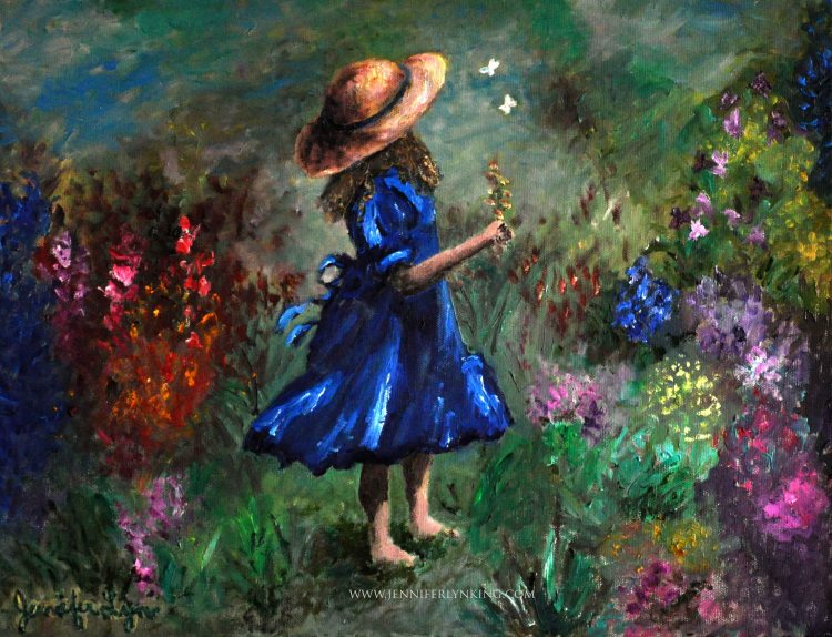 Girl in the Garden oil painting